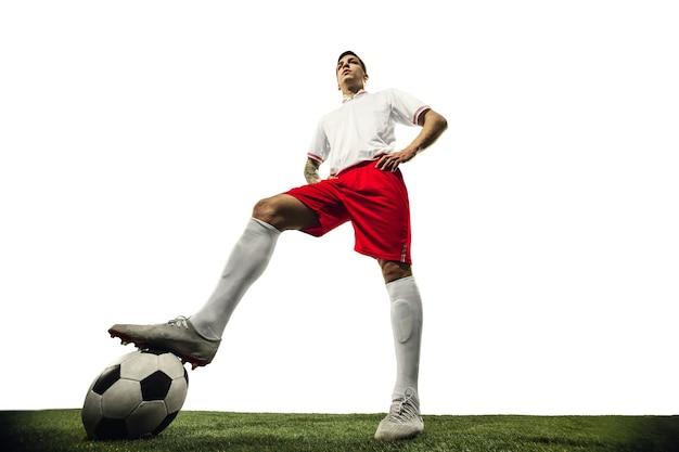 Футбол или футболист на белом фоне концепции деятельности действий движения