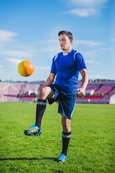 Football player in arena