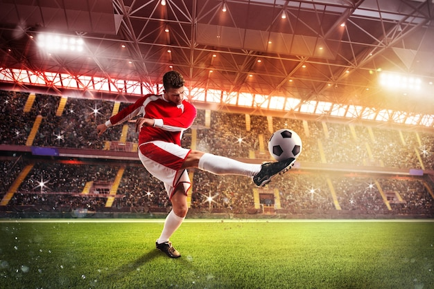 Футболист на стадионе