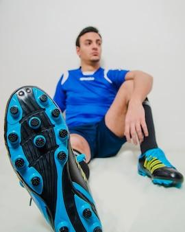 Football player relaxing