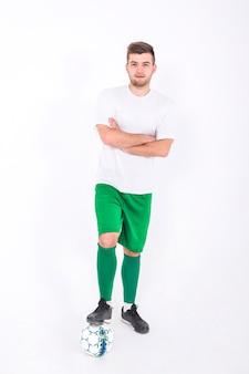 サッカー選手、腕、交差