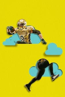 Футболист с мячом. человек, летящий выше синих облаков на фоне желтого неба. мечта, бумажный мир. вырез из бумаги. современный красочный и концептуальный художественный коллаж с copyspace.