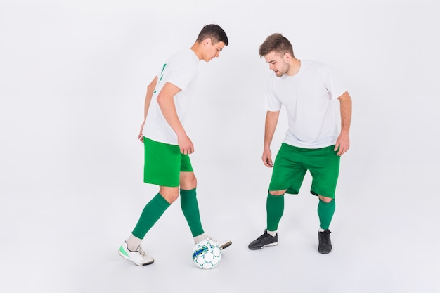 Football players in duel