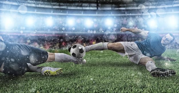 경기장에서 경쟁 축구 선수와 축구 장면