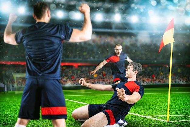 Футбольная сцена с игроками, ликующими на стадионе