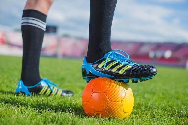 Football shoes on ball