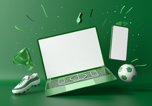 축구 스마트 폰 및 노트북