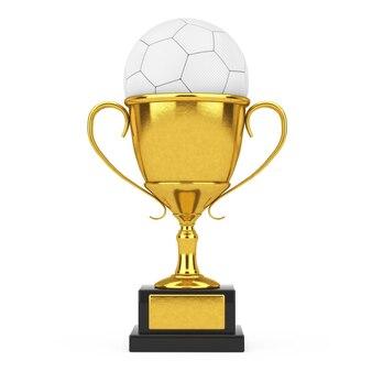 Концепция премии футбол футбол. золотой трофей награды с белым кожаным футбольным мячом на белом фоне. 3d рендеринг