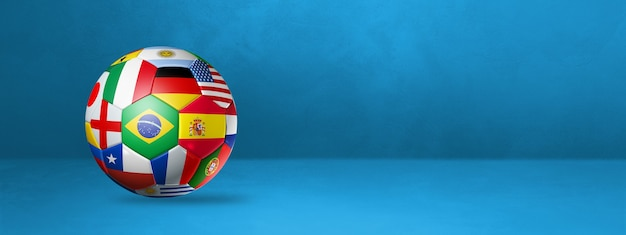 Football soccer ball with national flags  on a blue wall . 3d illustration