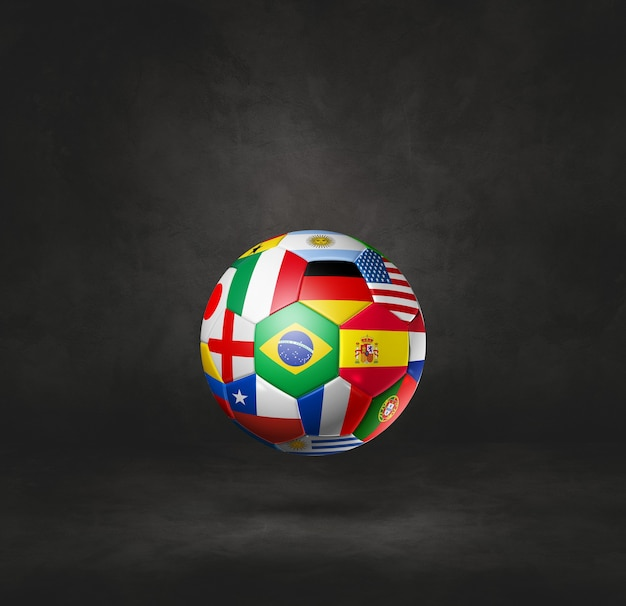 Football soccer ball with national flags isolated on a black studio background. 3d illustration