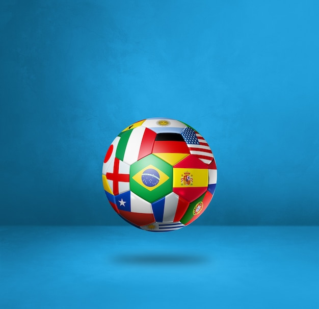 Football soccer ball with national flags isolated on a blue studio background. 3d illustration