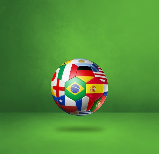 Football soccer ball with national flags isolated on a green studio background. 3d illustration