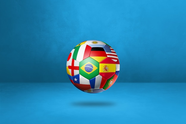 Футбольный мяч с национальными флагами, изолированные на синем фоне студии. 3d иллюстрации
