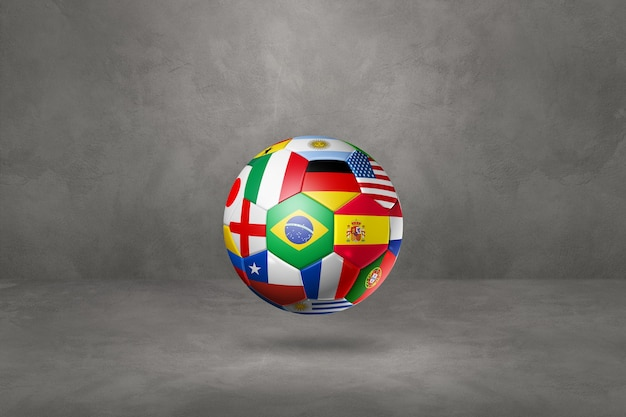 Футбольный футбольный мяч с национальными флагами, изолированные на фоне конкретной студии. 3d иллюстрации