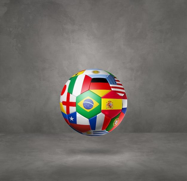 Футбольный футбольный мяч с национальными флагами, изолированными на бетонной стене. 3d иллюстрации