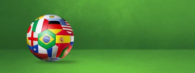 Футбольный футбольный мяч с национальными флагами, изолированные на зеленом студийном баннере.