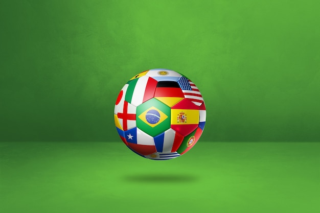 Футбольный мяч с национальными флагами на зеленой поверхности