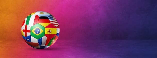 Футбольный мяч с национальными флагами, изолированными на фиолетовом градиенте