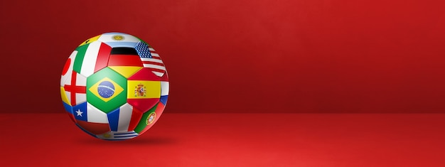 Football soccer ball with national flags isolated on a red studio banner. 3d illustration