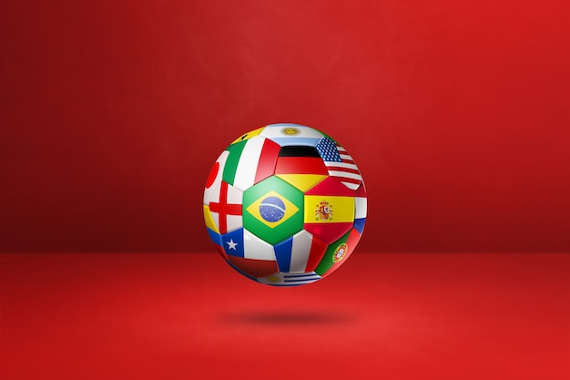 Football soccer ball with national flags isolated on a red wall. 3d illustration