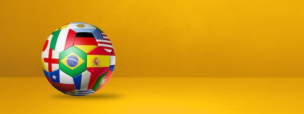 Football soccer ball with national flags isolated on a yellow studio banner. 3d illustration