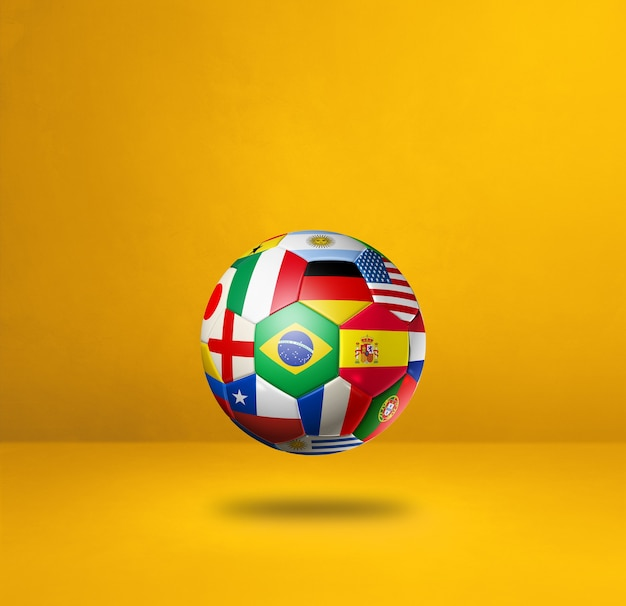 Football soccer ball with national flags isolated on a yellow wall. 3d illustration