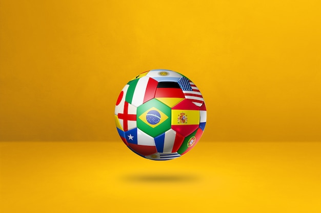 Football soccer ball with national flags isolated on yellow