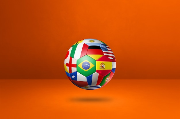 Football soccer ball with national flags on a orange background. 3d illustration
