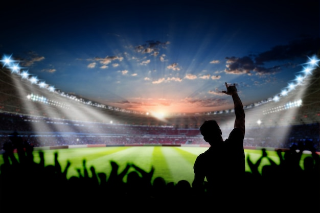 Football soccer stadium at night with audience fans 3d rendering