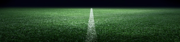 Football stadium, shiny lights, view from field. soccer concept