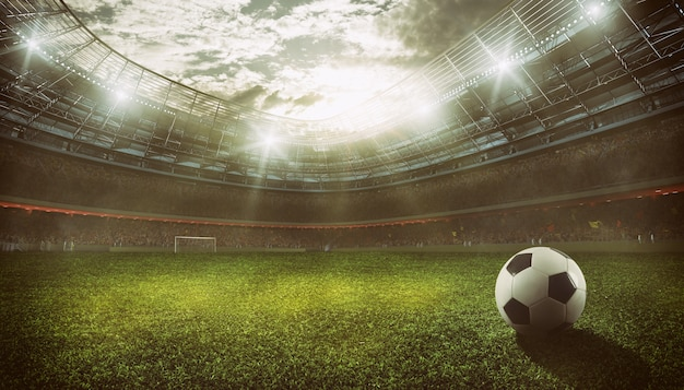 試合を待っているファンでいっぱいのスタンドがあるサッカースタジアム。 3dレンダリング