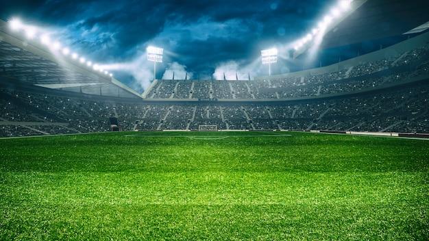 밤 게임 d 렌더링을 기다리는 팬들로 가득한 스탠드가있는 축구 경기장