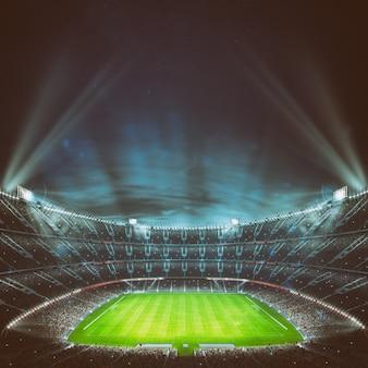 ナイトゲームを待っているファンでいっぱいのスタンドがあるサッカースタジアム