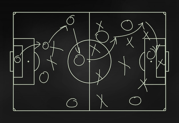 Football tactics on a blackboard close-up