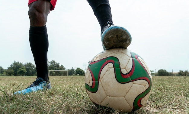 サッカーチームの試合のクローズアップ