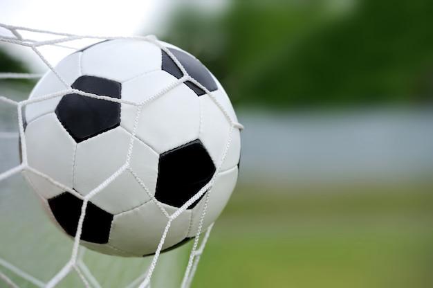 フットボール。ボールがネットゲートに飛び込む
