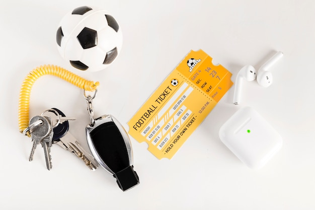 Football ticket and referee equipment