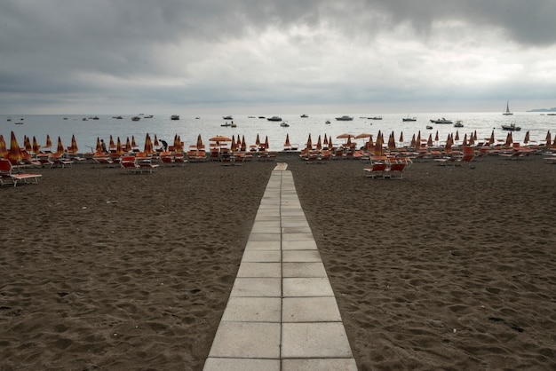 Footpath on a beach, positano, amalfi coast, salerno, campania, italy