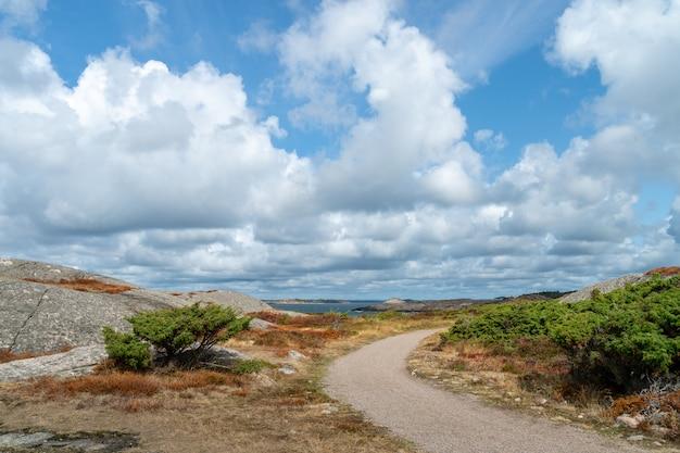 Sentiero per pedoni circondato da rocce ed erba in un campo sotto un cielo nuvoloso e luce solare durante il giorno