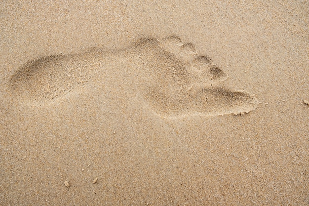 Footprint on the beach sand background.