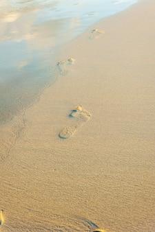 Footprint on sand beach with sunlight