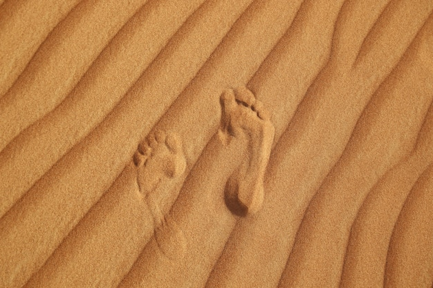 Footprint on sand of desert