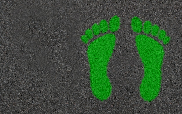 Footprints in the grass. ecological concept art 3d illustration