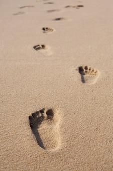 바닷가 모래 위에 발자국