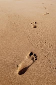 ビーチの夏の砂の足跡