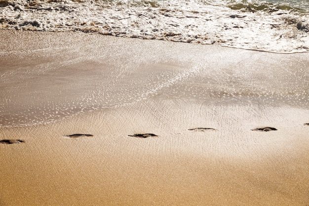 Footprints path in the sand of a beach