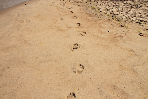 Footsteps on the beach by the sea in summer. bare footprints on the beach