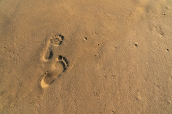 Footsteps on the yellow sand beach.