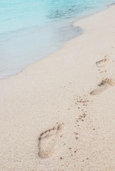 Footsteps in sand on summer tropical getaway