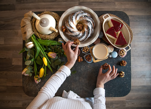 음식, 부활절 휴가 세트 테이블.